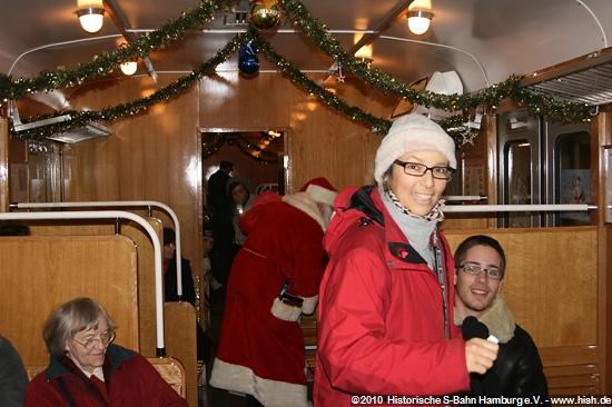 Fahrgastraum ehemalige 3. Klasse im Weihnachtseinsatz, Weihnachtszug 2008